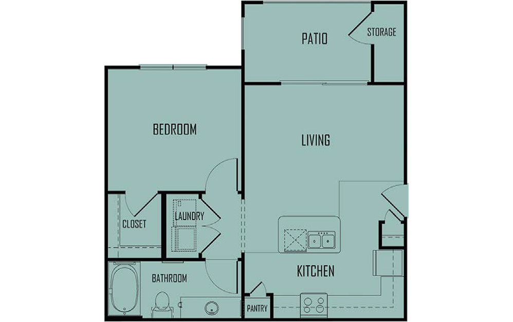 A1 - 1 bedroom floorplan layout with 1 bath and 640 square feet. (2D)