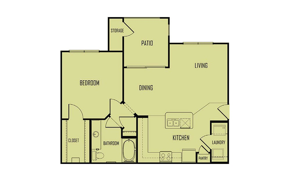 A3 - 1 bedroom floorplan layout with 1 bath and 818 square feet. (2D)