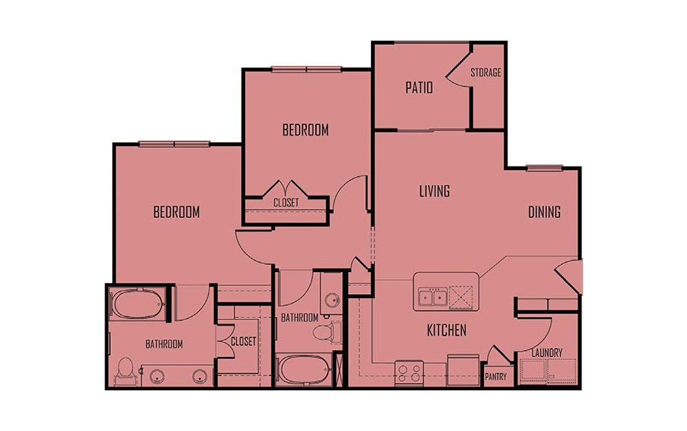 B1 - 2 bedroom floorplan layout with 2 baths and 975 square feet. (2D)