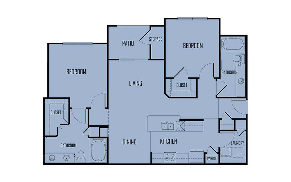 B2 - 2 bedroom floorplan layout with 2 baths and 1092 square feet. (2D)