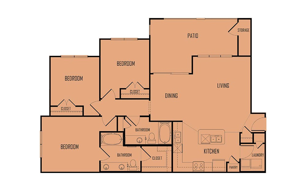 C1 - 3 bedroom floorplan layout with 2 baths and 1300 square feet. (2D)
